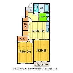 徳島県板野郡藍住町矢上字原の賃貸アパートの間取り