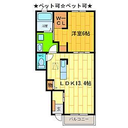 徳島県板野郡藍住町奥野字矢上前の賃貸アパートの間取り