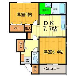 グリーン・グリーン A[1階]の間取り