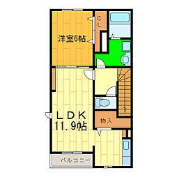 藍住町勝瑞アパートA[201号室]の間取り