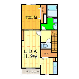 藍住町勝瑞アパートA[203号室]の間取り