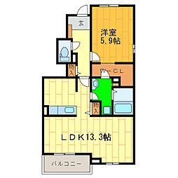 藍住町勝瑞アパートB[101号室]の間取り
