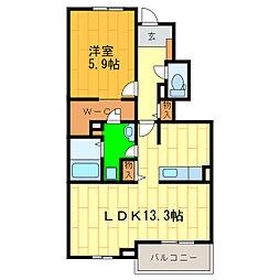 藍住町勝瑞アパートB[102号室]の間取り