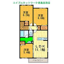 プロヌーブ松茂 2階3LDKの間取り