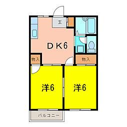 ドミール横山B[2階]の間取り