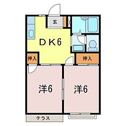 愛知県刈谷市泉田町山畑の賃貸アパートの間取り