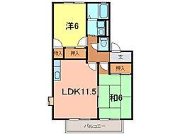 クレイドル上野A[2階]の間取り