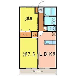 愛知県刈谷市泉田町折戸の賃貸アパートの間取り