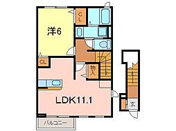 愛知県刈谷市新富町2丁目の賃貸アパートの間取り