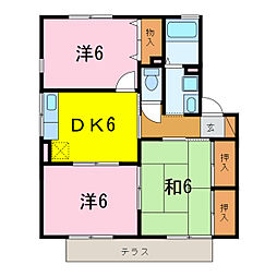 ハイカムールあすかA[1階]の間取り