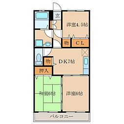 ピースフルマンションA棟[3階]の間取り