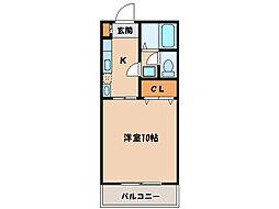 マンションシャルムB(K)[2階]の間取り