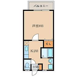 フェヴァリーE[2階]の間取り