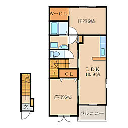 ガーデンハウスマロンI II[B203号室]の間取り