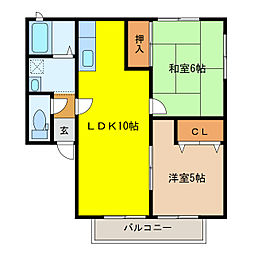 静岡県浜松市南区楊子町の賃貸アパートの間取り