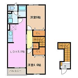 愛知県名古屋市緑区藤塚3丁目の賃貸アパートの間取り