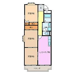 愛知県名古屋市天白区笹原町の賃貸マンションの間取り