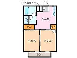 コーポ西尾B[2階]の間取り