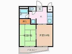 愛知県名古屋市緑区鳴海町字米塚の賃貸マンションの間取り