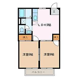 愛知県名古屋市緑区大高町字西丸根の賃貸アパートの間取り