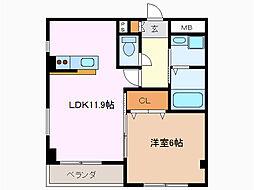 愛知県豊明市栄町南舘の賃貸マンションの間取り