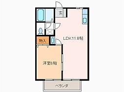 愛知県豊明市阿野町寺内の賃貸アパートの間取り