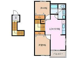 愛知県豊明市新田町中ノ割の賃貸アパートの間取り