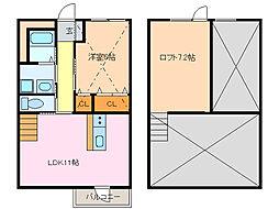 愛知県名古屋市緑区大将ケ根2の賃貸アパートの間取り
