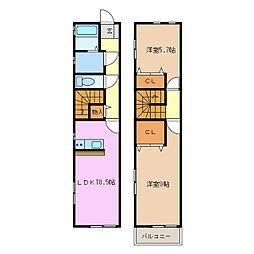 愛知県名古屋市緑区若田3丁目の賃貸アパートの間取り