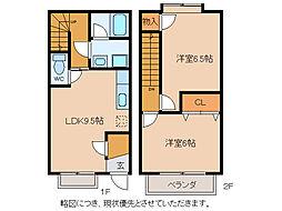 [テラスハウス] 滋賀県東近江市札の辻2丁目 の賃貸【/】の間取り