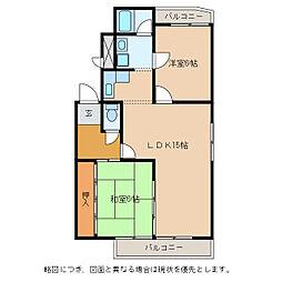 ハイツエクセルII番館[1階]の間取り