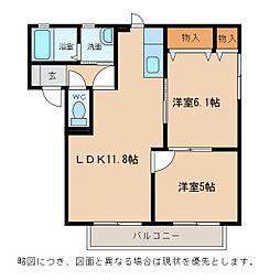 滋賀県近江八幡市安土町小中の賃貸アパートの間取り