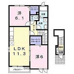 JR内房線 長浦駅 バス3分 長浦公民館入口下車 徒歩5分の賃貸アパート 2階2LDKの間取り