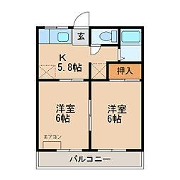 JR内房線 長浦駅 徒歩9分の賃貸アパート 2階2Kの間取り