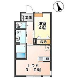 JR内房線 袖ヶ浦駅 徒歩13分の賃貸アパート 1階1LDKの間取り