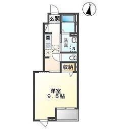 JR内房線 袖ヶ浦駅 徒歩9分の賃貸アパート 1階1Kの間取り