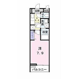 JR内房線 君津駅 徒歩11分の賃貸アパート 2階1Kの間取り