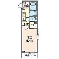 JR内房線 五井駅 徒歩11分の賃貸マンション 3階1Kの間取り
