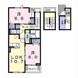 JR内房線 姉ヶ崎駅 徒歩9分の賃貸アパート 3階2LDKの間取り