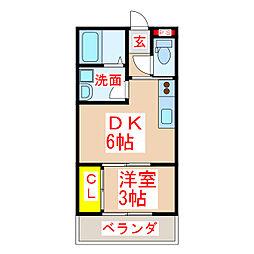 ダイシンI 2階1DKの間取り