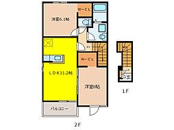 スプリング ヒルズA[2階]の間取り