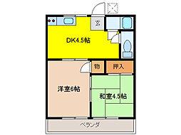 コーポ西桜[202号室]の間取り