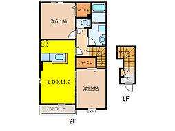 プレジールI[2階]の間取り