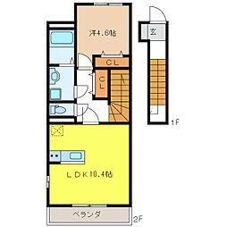 岐阜市薮田南T様新築アパート[B202号室]の間取り