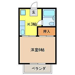柿沢ハイツC[2階]の間取り