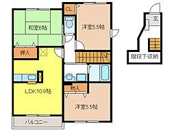 プラムフィールドB[2階]の間取り