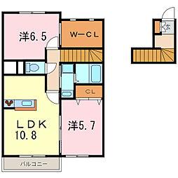 レフィナード橋目町B[2階]の間取り