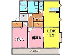 プレイン横山A[2階]の間取り