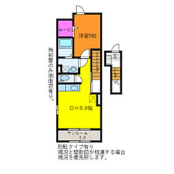 JR信越本線 新潟駅 バス10分 山木戸下車 徒歩5分の賃貸アパート 2階1DKの間取り