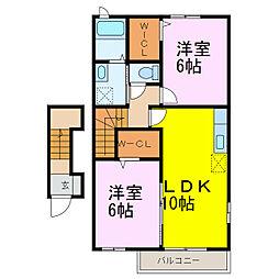 JR東北本線 栗橋駅 5kmの賃貸アパート 2階2LDKの間取り